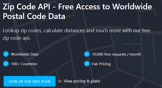 ZIP CODE API- GET FREE ACCESS TO WORLDWIDE POSTAL CODE DATA